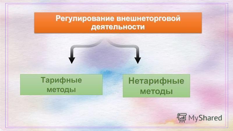 Регулирование внешнеторговой деятельности Тарифныеметоды Нетарифные методы