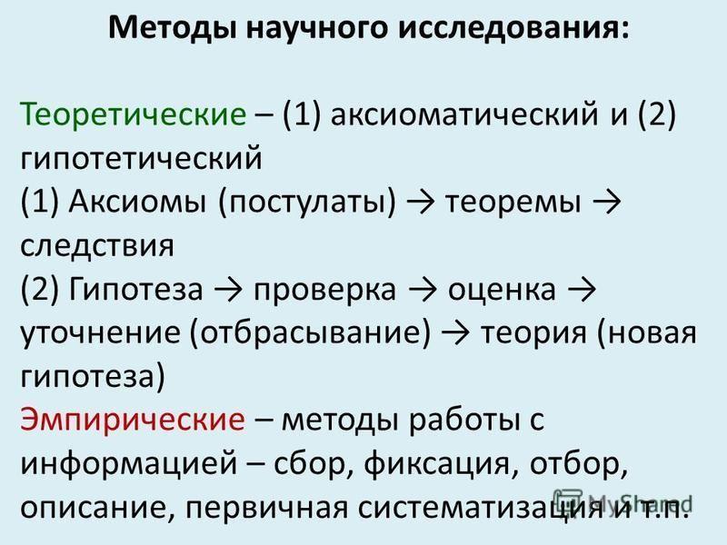 Методы научного исследования: Теоретические – (1) аксиоматический и (2) гипотетический (1) Аксиомы (постулаты) теоремы следствия (2) Гипотеза проверка оценка уточнение (отбрасывание) теория (новая гипотеза) Эмпирические – методы работы с информацией