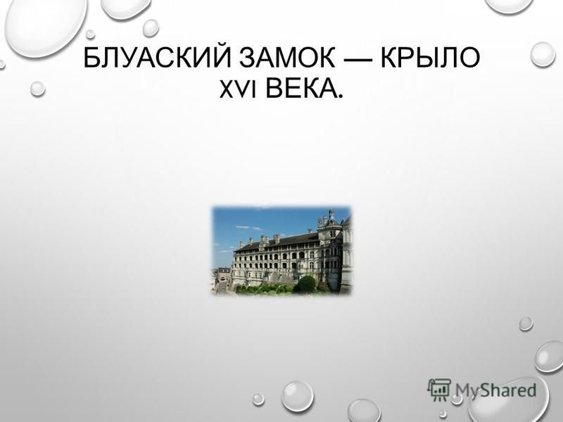 БЛУАСКИЙ ЗАМОК КРЫЛО XVI ВЕКА.