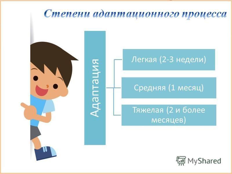 Адаптация Легкая (2-3 недели) Средняя (1 месяц) Тяжелая (2 и более месяцев)