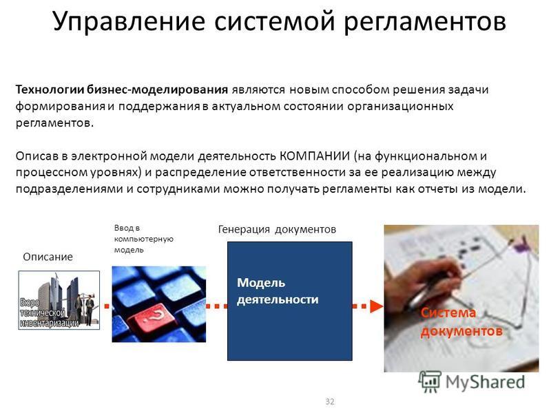 32 Управление системой регламентов Технологии бизнес-моделирования являются новым способом решения задачи формирования и поддержания в актуальном состоянии организационных регламентов. Описав в электронной модели деятельность КОМПАНИИ (на функциональ