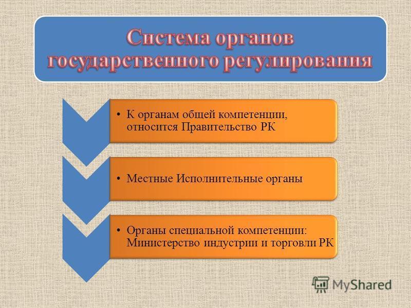 К органам общей компетенции, относится Правительство РК Местные Исполнительные органы Органы специальной компетенции: Министерство индустрии и торговли РК