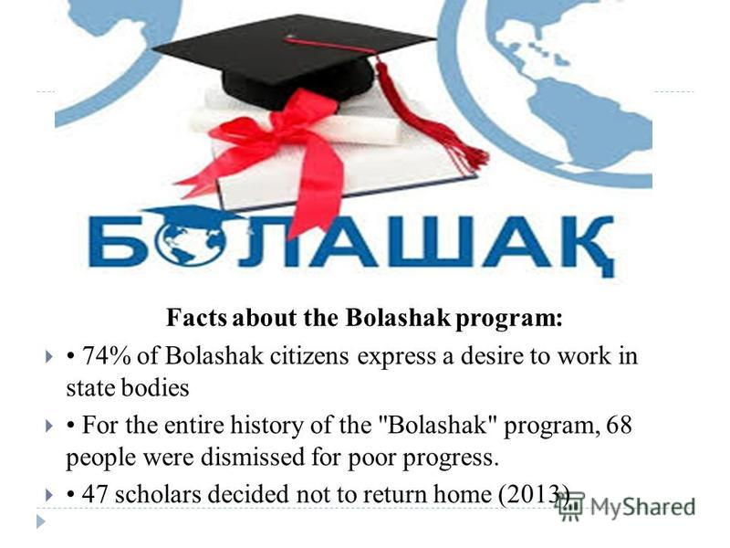 Facts about the Bolashak program: 74% of Bolashak citizens express a desire to work in state bodies For the entire history of the Bolashak program, 68 people were dismissed for poor progress. 47 scholars decided not to return home (2013)