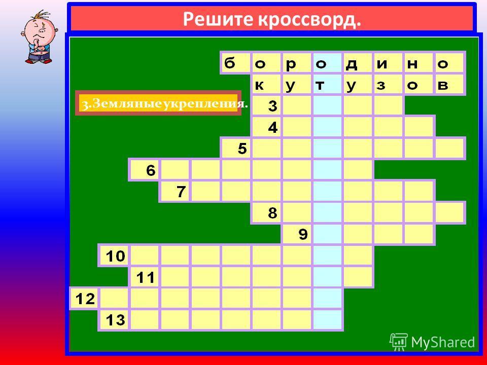 Решите кроссворд. 2.Полководец, главнокомандующий русской армии.