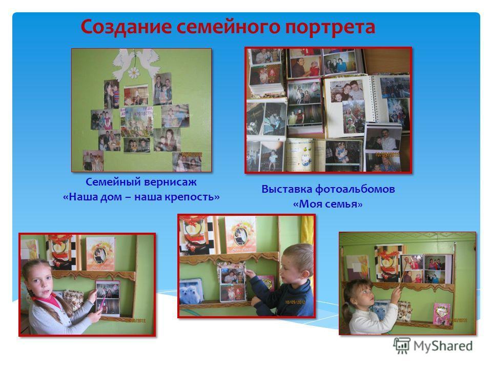 Создание семейного портрета Семейный вернисаж «Наша дом – наша крепость» Выставка фотоальбомов «Моя семья »