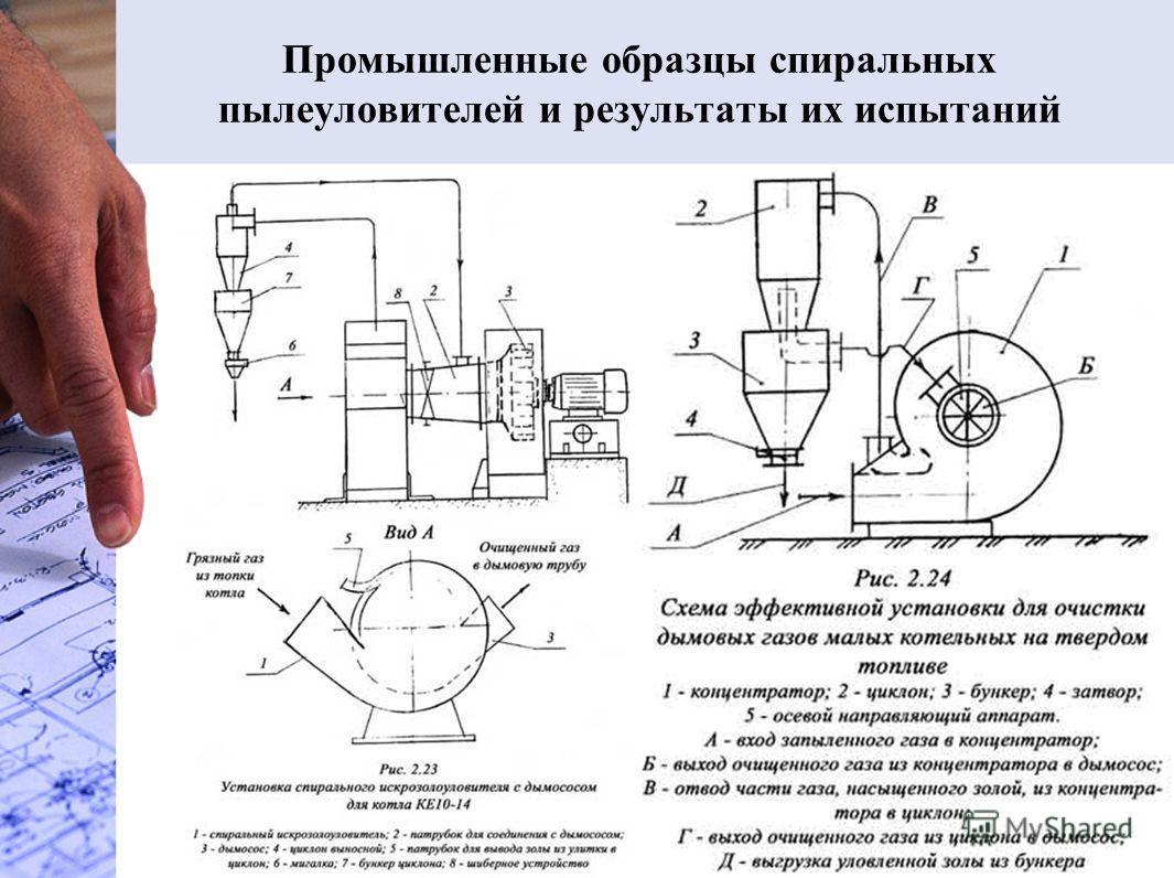 Промышленные образцы спиральных пылеуловителей и результаты их испытаний