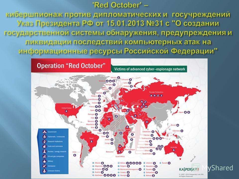 8 июля 201319 Карта обнаруженных программ для кибершпионажа и кибердиверсий (лаб. Касперского)