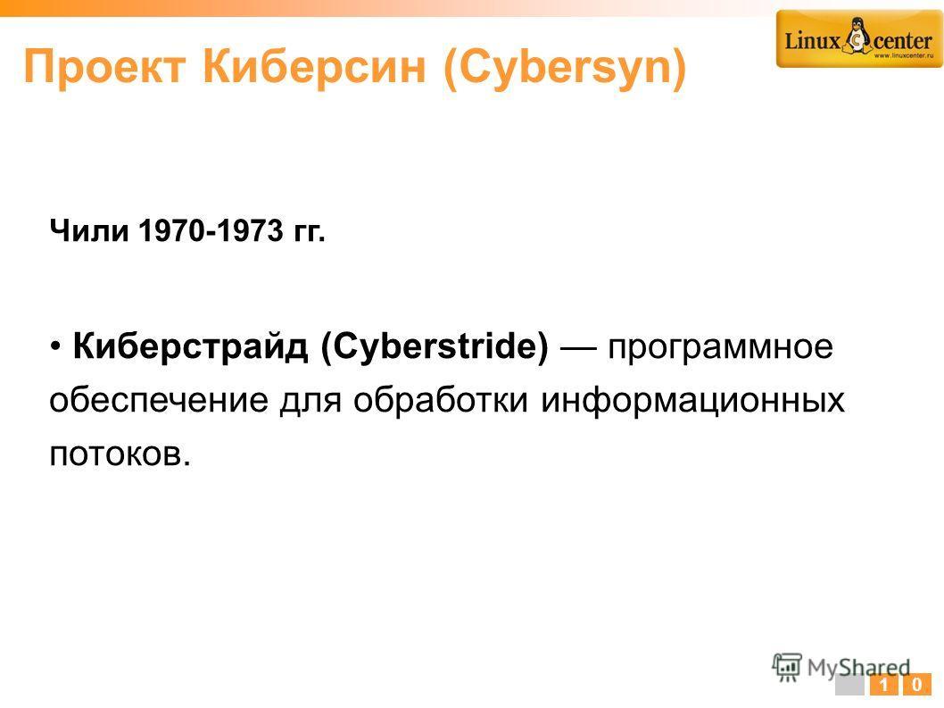 Чили 1970-1973 гг. Киберстрайд (Cyberstride) программное обеспечение для обработки информационных потоков. 10 Проект Киберсин (Cybersyn)