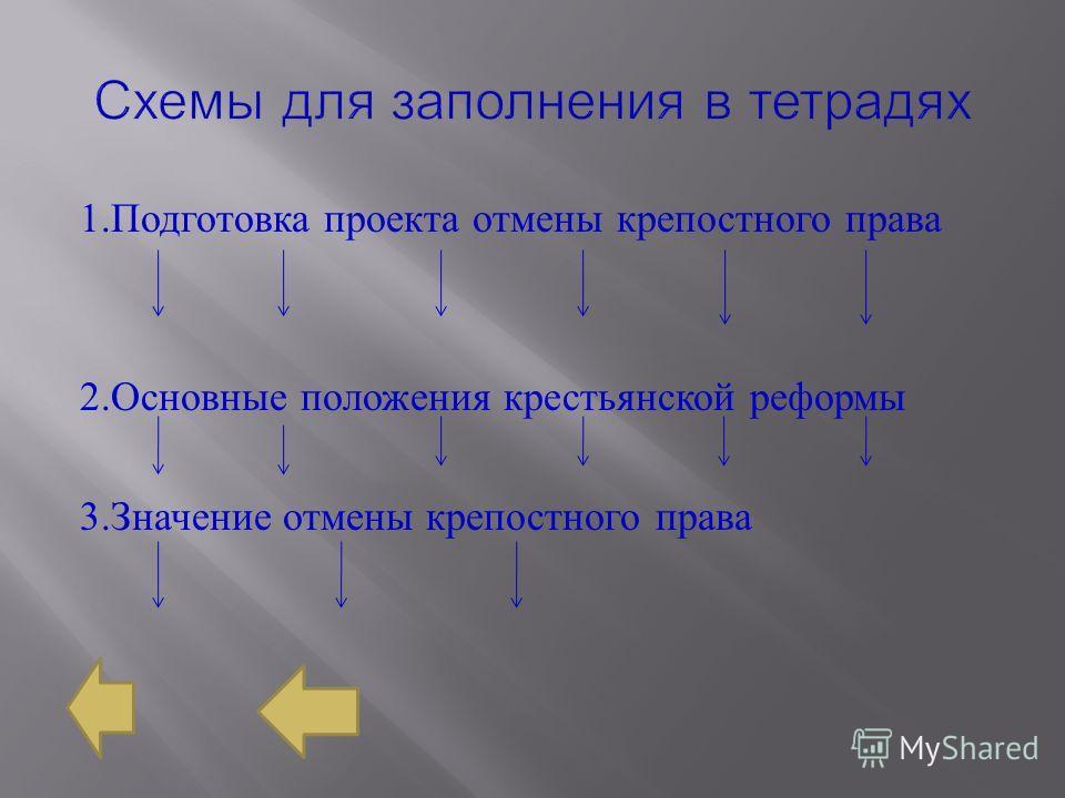 1. Подготовка проекта отмены крепостного права 2. Основные положения крестьянской реформы 3. Значение отмены крепостного права