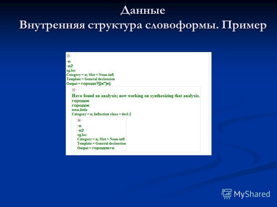 Данные Внутренняя структура словоформы. Пример