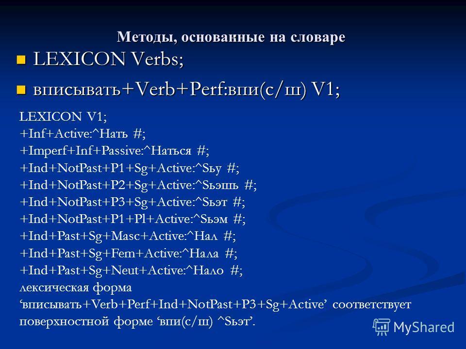 Методы, основанные на словаре. LEXICON Verbs; LEXICON Verbs; вписывать+Verb+Perf:впи(с/ш) V1; вписывать+Verb+Perf:впи(с/ш) V1; LEXICON V1; +Inf+Active:^Hать #; +Imperf+Inf+Passive:^Hаться #; +Ind+NotPast+P1+Sg+Active:^Sьу #; +Ind+NotPast+P2+Sg+Active