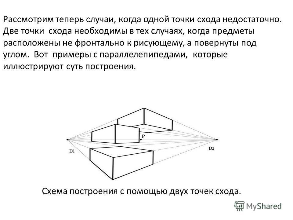 Рассмотрим теперь случаи, когда одной точки схода недостаточно. Две точки схода необходимы в тех случаях, когда предметы расположены не фронтально к рисующему, а повернуты под углом. Вот примеры с параллелепипедами, которые иллюстрируют суть построен