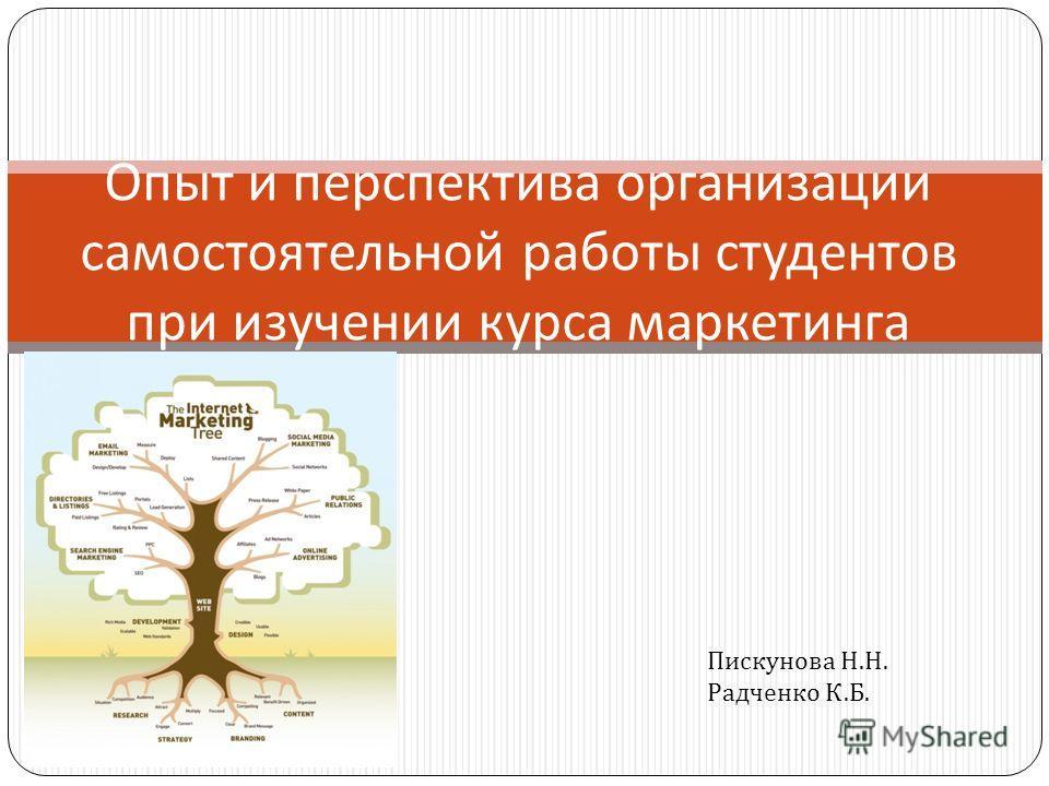 Опыт и перспектива организации самостоятельной работы студентов при изучении курса маркетинга Пискунова Н. Н. Радченко К. Б.