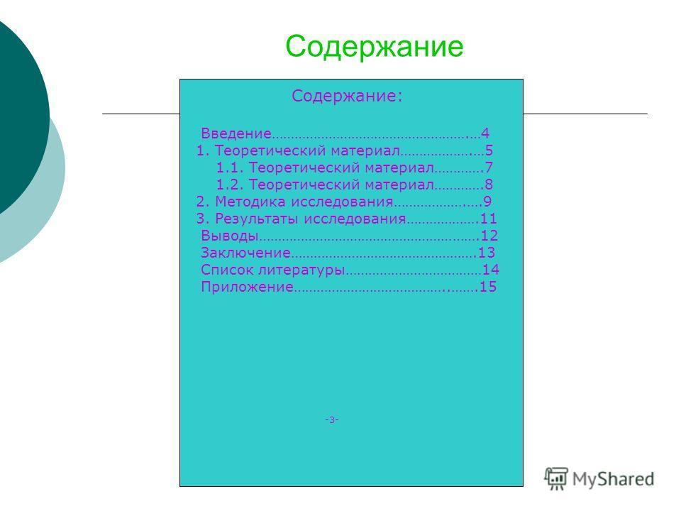 Содержание Содержание: Введение…………………………………………….…4 1. Теоретический материал……………….…5 1.1. Теоретический материал………….7 1.2. Теоретический материал………….8 2. Методика исследования……………….….9 3. Результаты исследования……………….11 Выводы………………………………………………