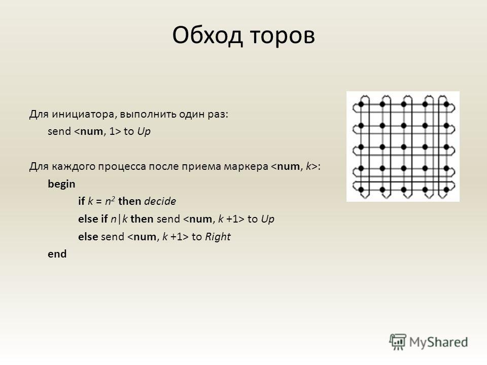 Обход торов Для инициатора, выполнить один раз: send to Up Для каждого процесса после приема маркера : begin if k = n 2 then decide else if n|k then send to Up else send to Right end