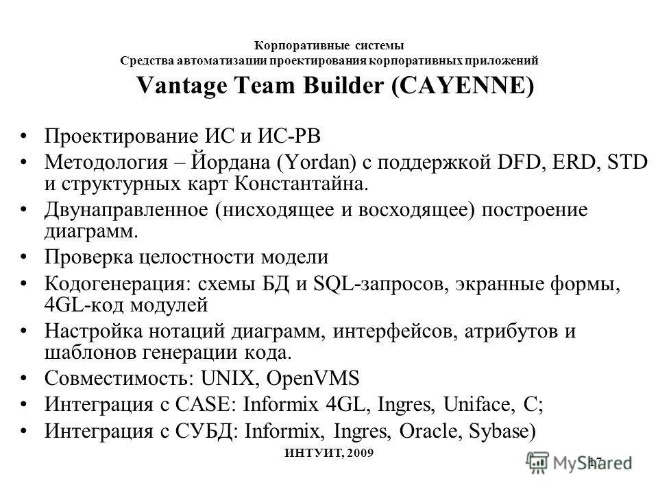 17 Корпоративные системы Средства автоматизации проектирования корпоративных приложений ИНТУИТ, 2009 Vantage Team Builder (CAYENNE) Проектирование ИС и ИС-РВ Методология – Йордана (Yordan) с поддержкой DFD, ERD, STD и структурных карт Константайна. Д