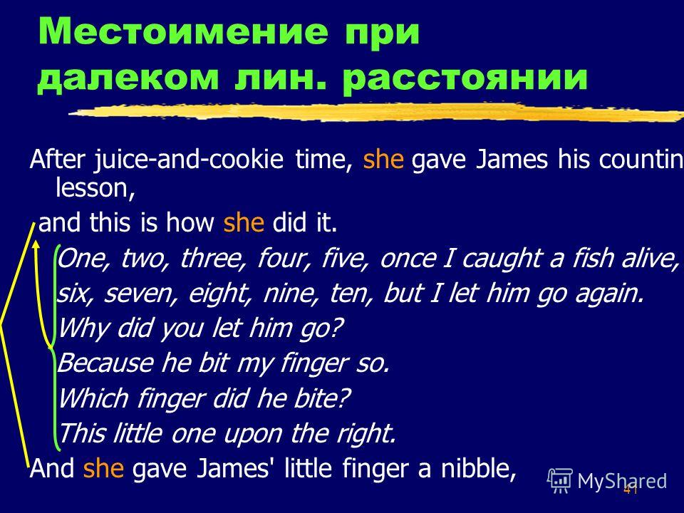 41 Местоимение при далеком лин. расстоянии After juice-and-cookie time, she gave James his counting lesson, and this is how she did it. One, two, three, four, five, once I caught a fish alive, six, seven, eight, nine, ten, but I let him go again. Why