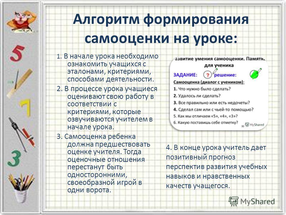 Алгоритм формирования самооценки на уроке: 1. В начале урока необходимо ознакомить учащихся с эталонами, критериями, способами деятельности. 2. В процессе урока учащиеся оценивают свою работу в соответствии с критериями, которые озвучиваются учителем