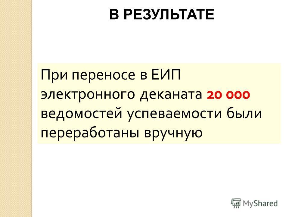 При переносе в ЕИП электронного деканата 20 000 ведомостей успеваемости были переработаны вручную В РЕЗУЛЬТАТЕ