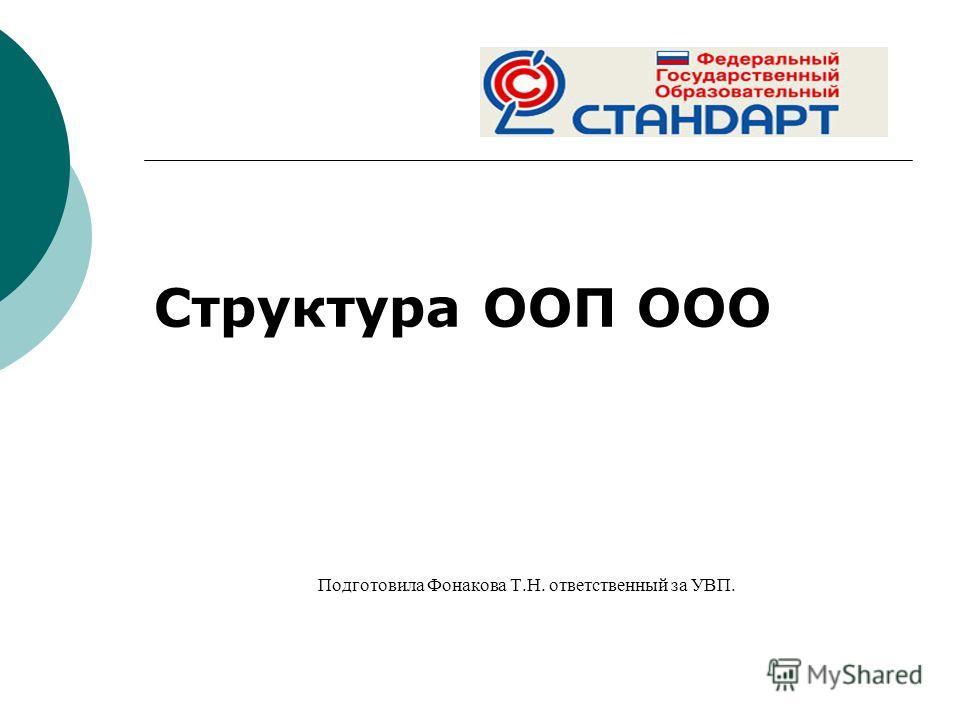 Структура ООП ООО Подготовила Фонакова Т.Н. ответственный за УВП.