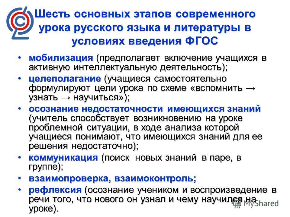 Шесть основных этапов современного урока русского языка и литературы в условиях введения ФГОС мобилизация (предполагает включение учащихся в активную интеллектуальную деятельность);мобилизация (предполагает включение учащихся в активную интеллектуаль
