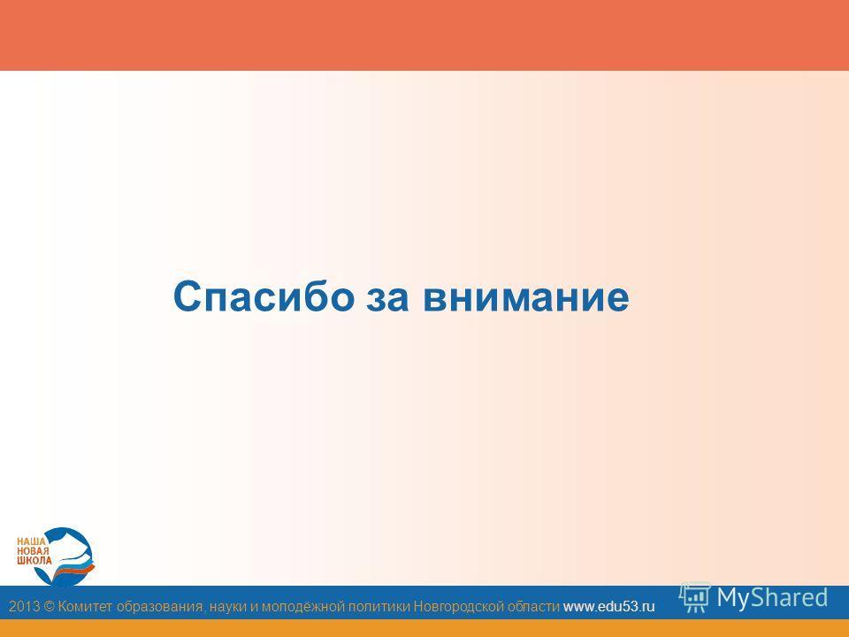 2013 © Комитет образования, науки и молодёжной политики Новгородской области www.edu53. ru Спасибо за внимание
