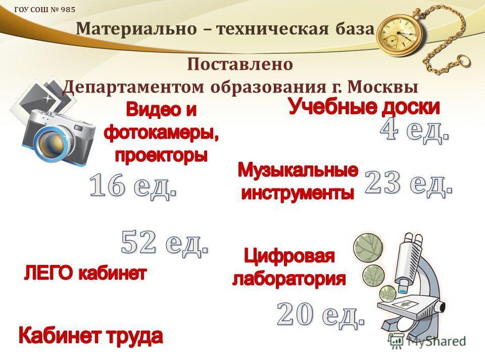 ГОУ СОШ 985 Материально – техническая база Поставлено Департаментом образования г. Москвы