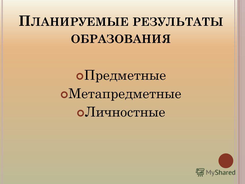 П ЛАНИРУЕМЫЕ РЕЗУЛЬТАТЫ ОБРАЗОВАНИЯ Предметные Метапредметные Личностные