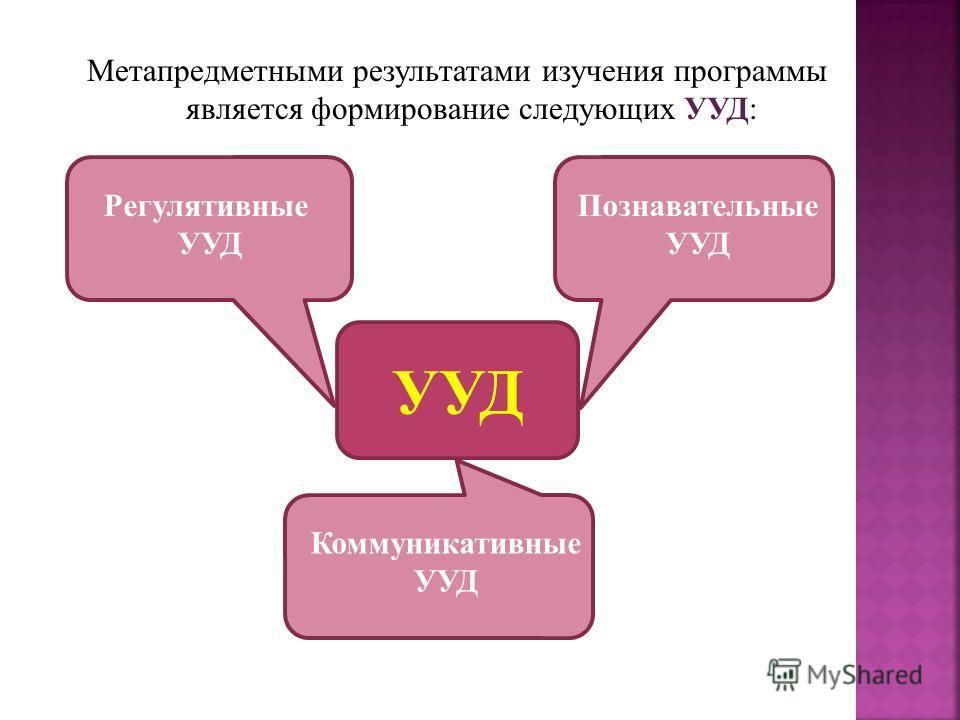 Метапредметными результатами изучения программы является формирование следующих УУД: УУД Регулятивные УУД Познавательные УУД Коммуникативные УУД
