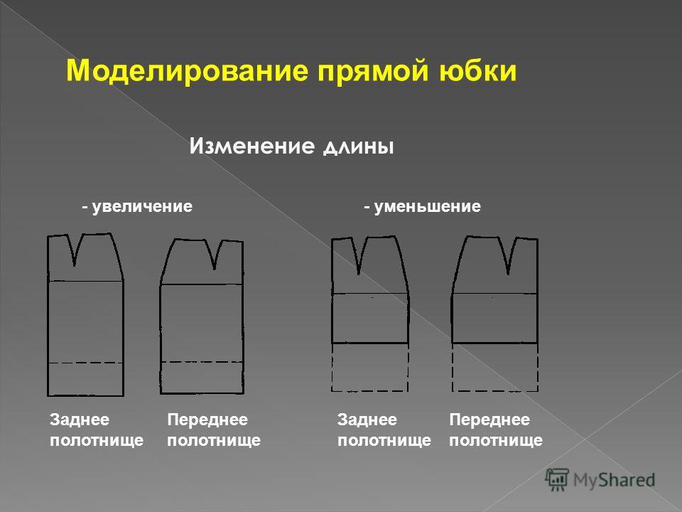 Моделирование прямой юбки Изменение длины - увеличение- уменьшение Заднее полотнище Переднее полотнище