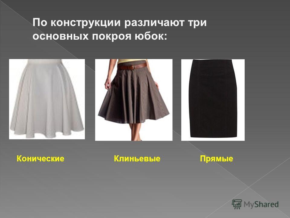 По конструкции различают три основных покроя юбок: Конические КлиньевыеПрямые