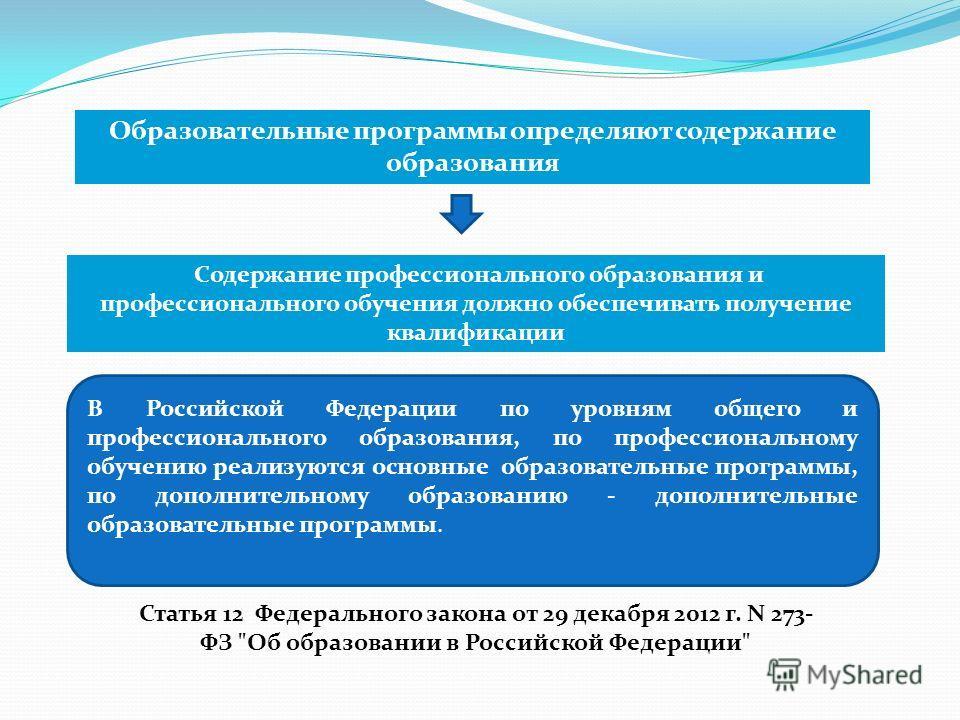 Образовательные программы определяют содержание образования Содержание профессионального образования и профессионального обучения должно обеспечивать получение квалификации В Российской Федерации по уровням общего и профессионального образования, по