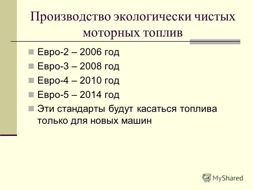 Производство экологически чистых моторных топлив Евро-2 – 2006 год Евро-3 – 2008 год Евро-4 – 2010 год Евро-5 – 2014 год Эти стандарты будут касаться топлива только для новых машин