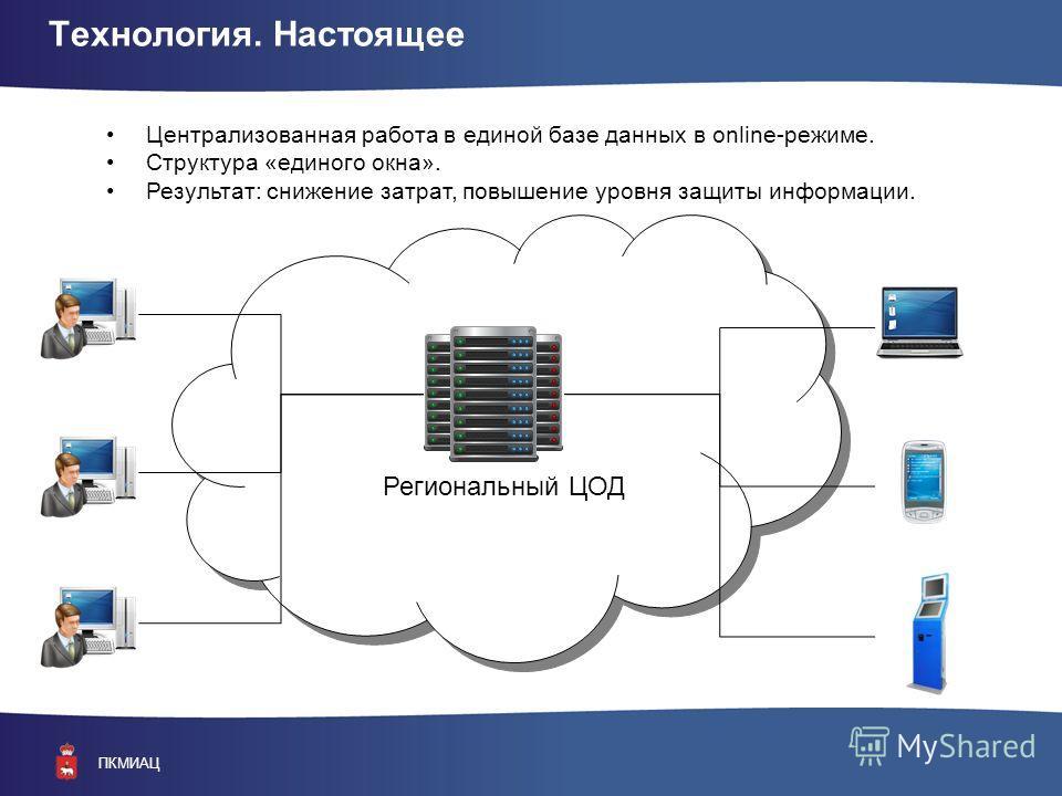 ПКМИАЦ Технология. Настоящее Централизованная работа в единой базе данных в online-режиме. Структура «единого окна». Результат: снижение затрат, повышение уровня защиты информации. Региональный ЦОД