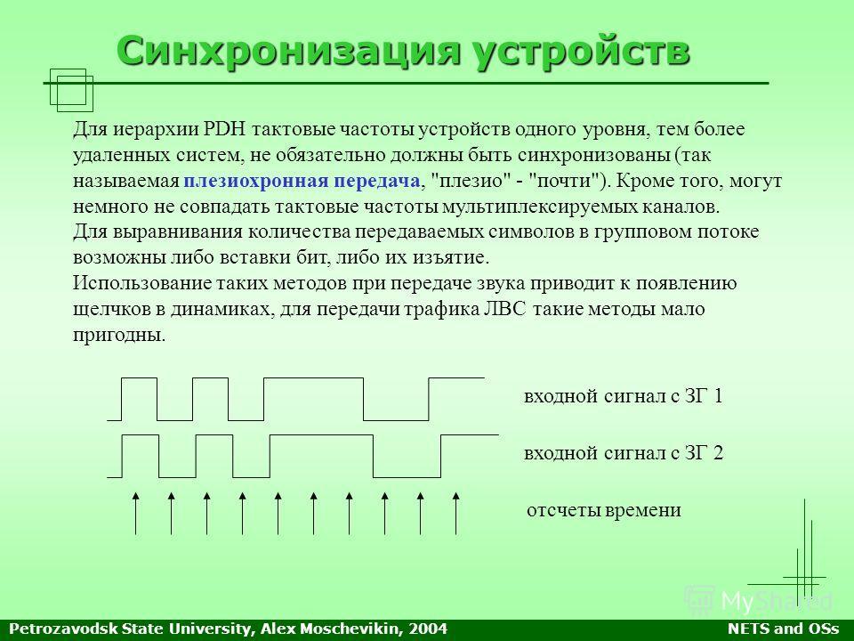 Petrozavodsk State University, Alex Moschevikin, 2004NETS and OSs Синхронизация устройств Для иерархии PDH тактовые частоты устройств одного уровня, тем более удаленных систем, не обязательно должны быть синхронизованы (так называемая плезирхронная п