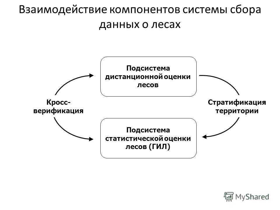 Подсистема статистической оценки лесов (ГИЛ) Подсистема дистанционной оценки лесов Стратификация территории Кросс- верификация Взаимодействие компонентов системы сбора данных о лесах