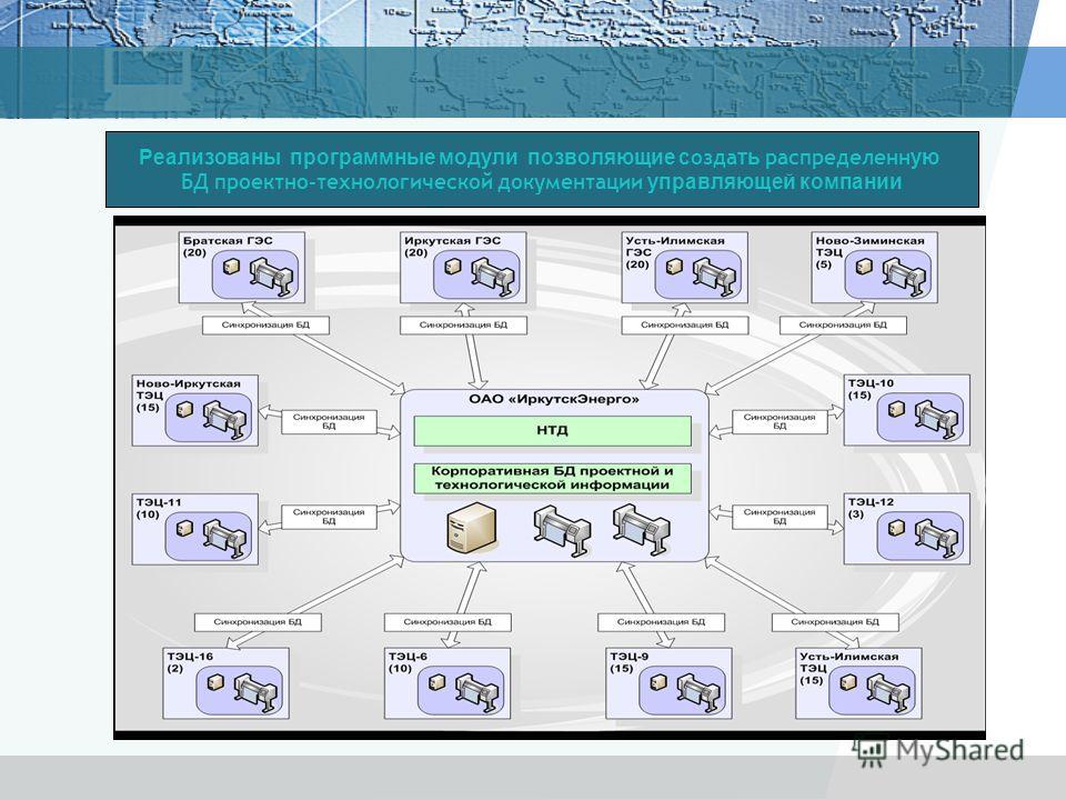 Реализованы программные модули позволяющие создать распределенную БД проектно-технологической документации управляющей компании
