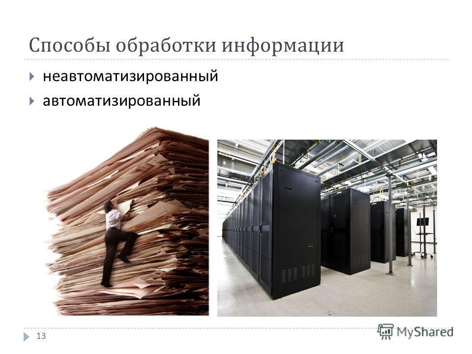 Способы обработки информации неавтоматизированный автоматизированный 13