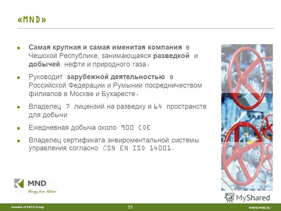 «MND» Самая крупная и самая именитая компания в Чешской Республике, занимающаяся разведкой и добычей нефти и природного газа. Руководит зарубежной деятельностью в Российской Федерации и Румынии посредничеством филиалов в Москве и Бухаресте. Владелец