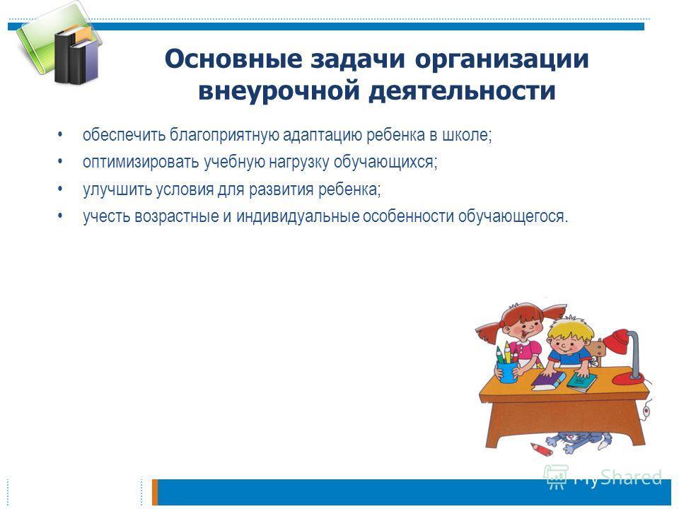 Основные задачи организации внеурочной деятельности обеспечить благоприятную адаптацию ребенка в школе; оптимизировать учебную нагрузку обучающихся; улучшить условия для развития ребенка; учесть возрастные и индивидуальные особенности обучающегося.