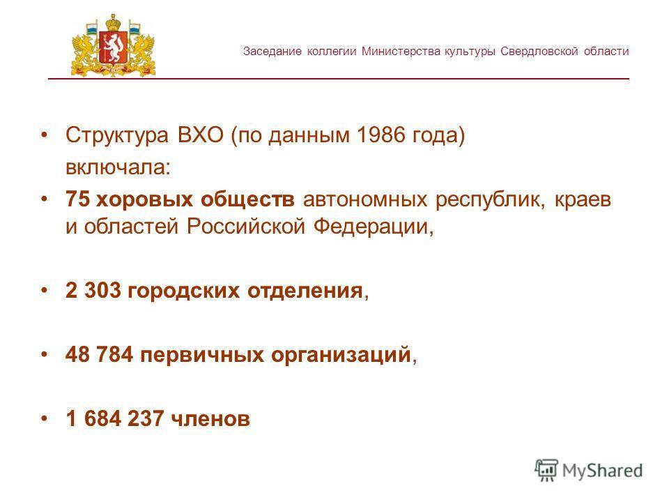 Заседание коллегии Министерства культуры Свердловской области ________________________________________________________ Структура ВХО (по данным 1986 года) включала: 75 хоровых обществ автономных республик, краев и областей Российской Федерации, 2 303