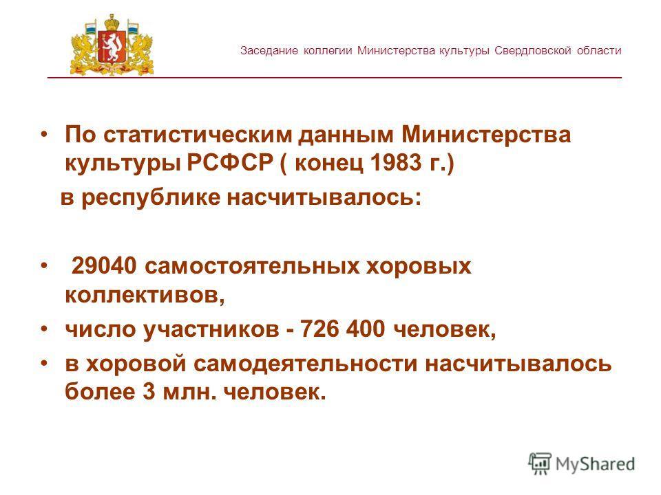 Заседание коллегии Министерства культуры Свердловской области ________________________________________________________ По статистическим данным Министерства культуры РСФСР ( конец 1983 г.) в республике насчитывалось: 29040 самостоятельных хоровых кол