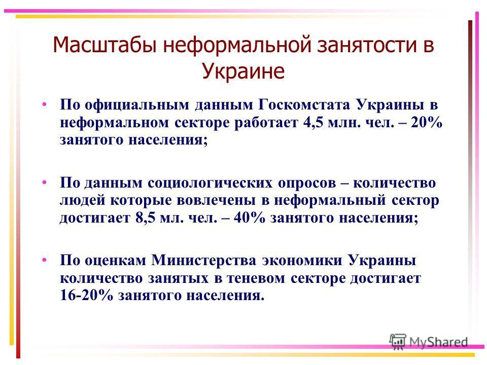 Масштабы неформальной занятости в Украине По официальным данным Госкомстата Украины в неформальном секторе работает 4,5 млн. чел. – 20% занятого населения; По данным социологических опросов – количество людей которые вовлечены в неформальный сектор д