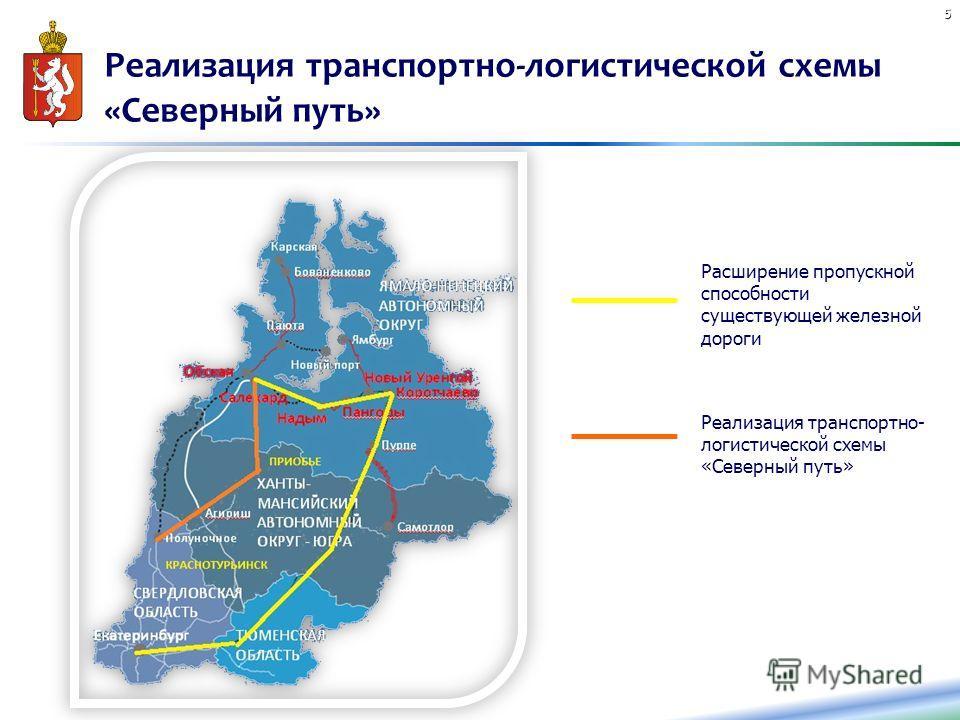 Реализация транспортно-логистической схемы «Северный путь» 5 Расширение пропускной способности существующей железной дороги Реализация транспортно- логистической схемы «Северный путь»