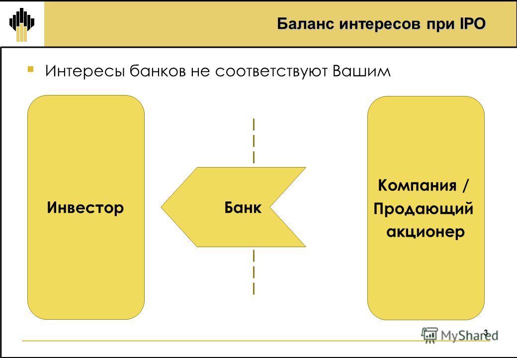 3 Баланс интересов при IPO Интересы банков не соответствуют Вашим Инвестор Компания / Продающий акционер Банк