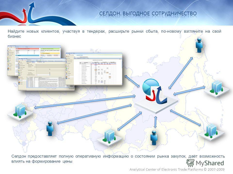 Селдон предоставляет полную оперативную информацию о состоянии рынка закупок, даёт возможность влиять на формирование цены Найдите новых клиентов, участвуя в тендерах, расширьте рынки сбыта, по-новому взгляните на свой бизнес Analytical Center of Ele