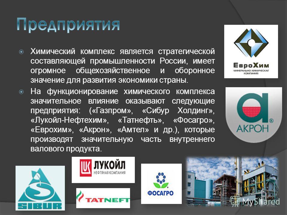 Химический комплекс является стратегической составляющей промышленности России, имеет огромное общехозяйственное и оборонное значение для развития экономики страны. На функционирование химического комплекса значительное влияние оказывают следующие пр