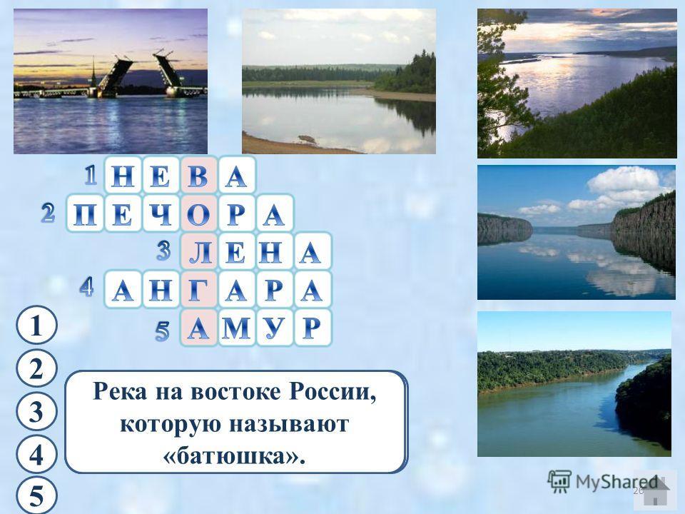 1 На берегах этой реки расположен город Санкт-Петербург. 2 Река, текущая на север с Уральских гор. 3 Крупная река с женским именем. 4 Река,берущая начало из самого глубокого озера мира. 5 Река на востоке России, которую называют «батюшка». 20