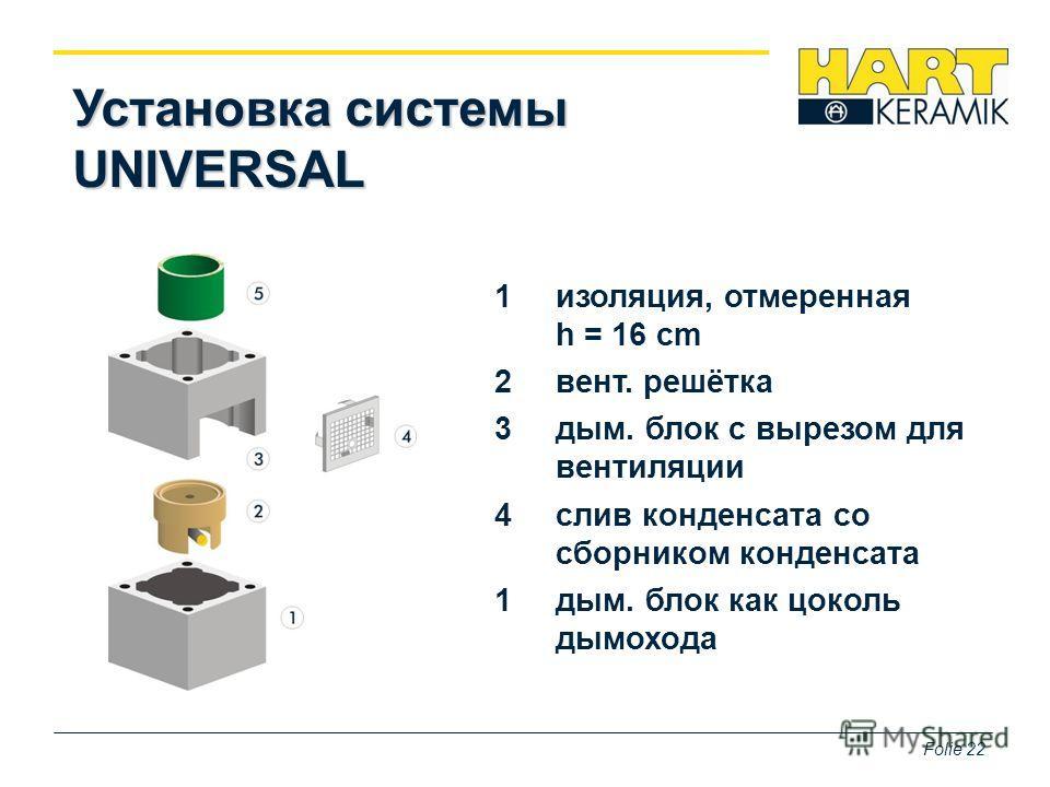 Folie 22 Установка системы UNIVERSAL 1 изоляцииия, отмеренная h = 16 cm 2 вент. решётка 3 дым. блок c вырезом для вентиляции 4 слив конденсата со сборником конденсата 1 дым. блок как цоколь дымохода