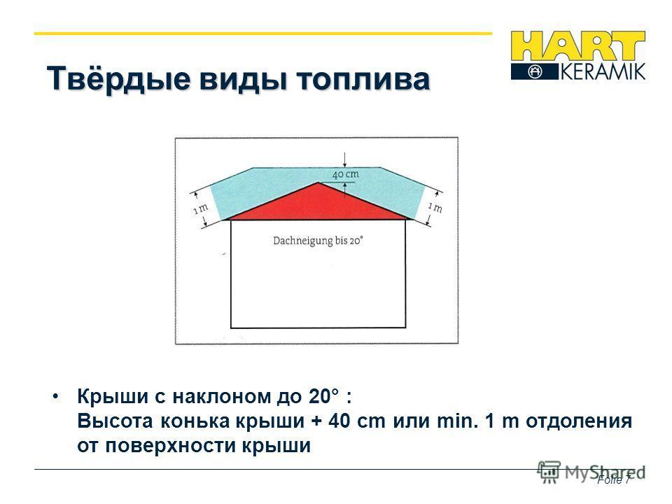 Folie 7 Твёрдые виды топлива Крыши с наклоном до 20° : Высота конька крыши + 40 cm или min. 1 m отдаления от поверхности крыши